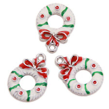 20pcs Lots White Red Green Enamel Christmas Charms Alloy Pendants Fit Neckalce J