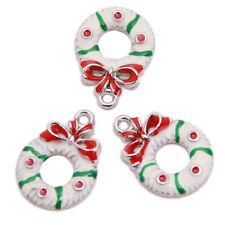 20pcs Lots White Red Green Enamel Christmas Charms Alloy Pendants Fit Neckalce J
