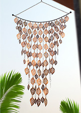 Wind Chime Home Outdoor Patio Decor Cascading Leaves Design Rain Chain Copper