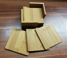 Holzuntersetzer Bambus mit Halter 7 teilig mit graviertem Logo / Text