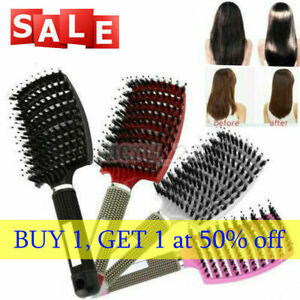 Womens Mens Natural Boar Bristle Detangling Nylon Brush curved curly hair Combs
