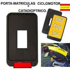 PORTA MATRICULAS/ PORTA PLACAS CICLOMOTOR EN COLOR NEGRO+CATADIOPTRICO