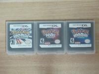 3Pcs Nintendo Pokemon Game Card Platinum+Pearl+Diamond Version for NDSL NDSI 3DS