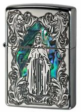 Zippo Oil Lighter Green Blue Shell Inlaying Arabesque Maria Silver Brass Japan