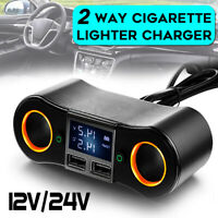 12V/24V Car Cigarette Lighter Adapter 2 Way Double Plug Socket Charger Splitter