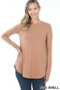 Women's Long Sleeve Tunic Top Casual Crew Neck Basic T-Shirt Blouse Loose Fit