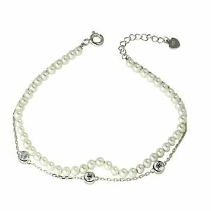 925 STERLING SILVER DOUBLE STRAND BRACELET W/ LAB DIAMONDS & PEARLS / 8''