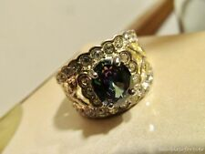 Sparkly Wide Clear Crystal Band Style Ring MYSTIC TOPAZ Stone Size 8 marked 925