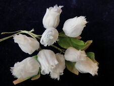 "Vintage Millinery Flower Shabby Rose 1.5"" Bud Lot White Hat Wedding or Hair K56"