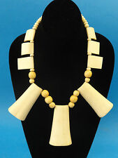 STUNNING VINTAGE ETHNIC TIBET HAND CARVED BONE & BEAD NECKLACE