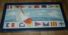 "Design Works SAILBOAT NAUTICAL Counted CS Kit w Frame    6"" x 12"""