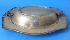 Vintage Silvercraft EPNS Covered Vegetable Dish 2214 Textured Art Nouveau Lady