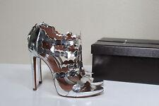 sz 9 / 39.5 Azzedine Alaia Silver Leather Open Toe Ankle Sandal Bootie Heel Shoe
