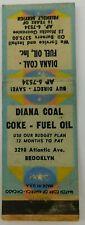 Diana Coal Coke Fuel Oil Brooklyn New York Vintage Matchbook Cover