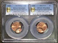 2000 1C Lincoln Cent Mint Error Mated Pair MS63RD/MS65RD - RicksCafeAmerican.com