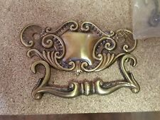 "Set of 3 Matching Ornate Dresser Drawer Pulls w/ Bales All Brass 3"" holes"
