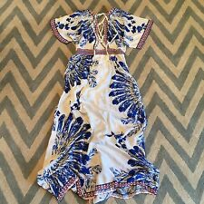L New ANTHROPOLOGIE Women's Blue White Boho Floral Maxi Summer Wrap Dress LARGE