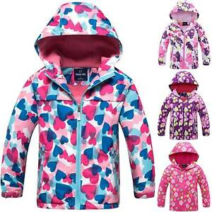 Kids Girls Waterproof Rain Coat Hooded Fleece School Lined Jacket Age 3-10 Yrs