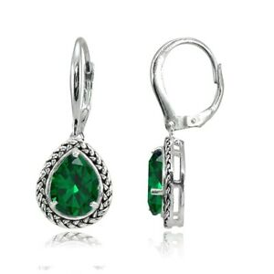 925 Silver Simulated Emerald Pear-Cut Oxidized Rope Dangle Leverback Earrings