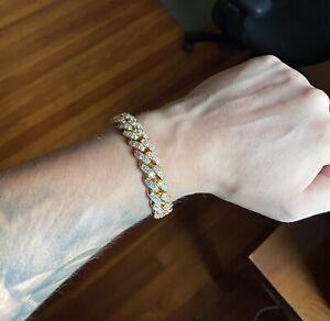Mens Gold Bracelet Diamond Miami Cuban Link Bracelet 9in 12mm