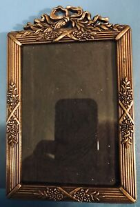 Ornate vintage brass easel tabletop picture frame for 3 1/4 x 4 3/4