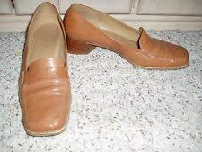 ENZO ANGIOLINI Leather Stack Heel Loafer Style Shoes~Tan~Size 7.5 M
