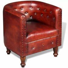 vidaXL Fauteuil Meuble sofa pour salon bureau en Cuir véritable Marron