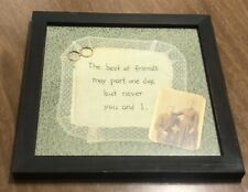 """Framed Vintage CDV Photograph Wedding Rings Doily """"Best of Friends May Part"""""""