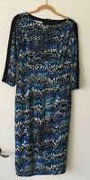 Maggy London Size 10 Midi Dress Multicolor 3/4 Sleeve Stretch Sheath