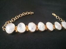 Rainbow Moonstone Bracelet 18 Karat Gold Over Brass Adjustable