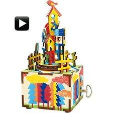3D Wooden Puzzle Castle In The Sky Crank Music Box Robotic Robotime Jigsaw Wood
