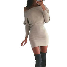 sexy bodycon Dress off the shoulder long Sleeve Slim Dresses casual party sheath