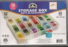 NEW DMC 6118/6 | Floss/Embroidery Thread Bobbin Storage Box inc 50 Empty Bobbins