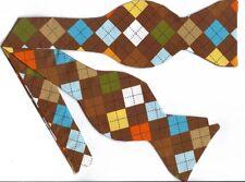 (1) BOW TIE - CHOCOLATE ARGYLE - BLUE, GREEN, YELLOW, ORANGE & BROWN