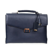 NEW BRIONI NAVY BLUE LEATHER BRIEFCASE MADE IN ITALY - KEYS, ID PLATE, DUST BAG