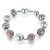 European Women 925 Silver Plated Heart Charm Bracelet With Glass Beads Jewelry