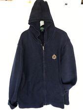 RALPH LAUREN Zip Cardigan Knit Sweater Hooded Womens Sz XL 2Xl Blue Logo Crown