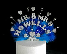 Mr & Mrs... or double name feather and bead wedding cake topper