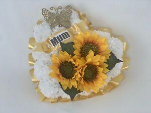 Silk Artificial Funeral Flowers Wreath Memorial Grave Tribute Heart Sunflower