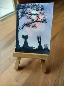 ELW Original, Aceo Cards.  Hare and fox.