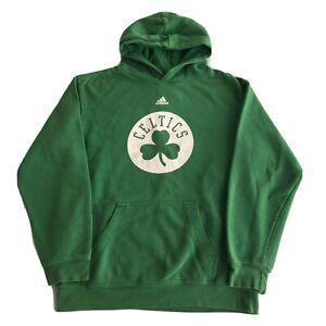 Vintage Boston Celtics Hoodie Boys Large (14-16) Adidas Green Pullover Kids NBA