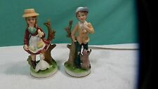 "Quality Capodimonte Italian Bisque Ceramic Peasant Boy & Girl 7"" Tall Figurines"