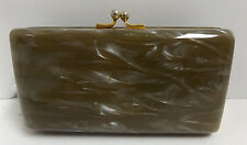 Vintage Faux Mother Of Pearl Hard Shell Mini Evening Purse Clutch