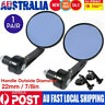 "7/8""Universal Round Motorcycle Rear View Handle Bar End Rearview Side Mirrors AU"