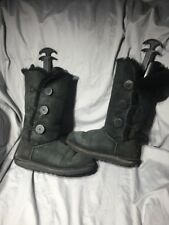 Ugg Bailey Button Triplet Triple Button 1873 Black Suede Classic Tall Women's 8