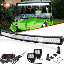 "For Kawasaki Teryx Teryx4 Mule 610 4010 UTV Upper Curved 50'' LED Bar+2x 4"" Pods"