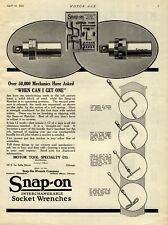 1922 Snap On Tools Ad: Milwaukee, Wisconsin - Interchangeable Socket Wrenches