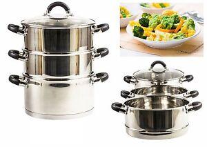 🔥 3 Tier 24cm Steamer Set Food Vegetable Steam Pot Set Glass Lid induction Safe