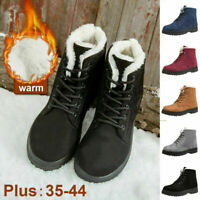 Women's Winter Warm Casual Suede Fur-lined Lace-up Ankle Boots Snow Boots Shoes