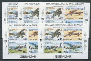 [P882] Gibraltar 1998 aviation planes good sheets very fine MNH (5x)